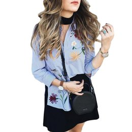 Wholesale Bird Pattern Blouse - floral embroidered women blouses Winter long sleeve striped shirt women tops 2016 Casual bird pattern chemise femme