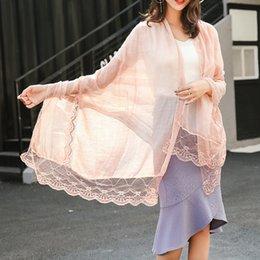 Wholesale cotton voile shawls - Plain Solid Color Lace Shawl Scarf 2017 Fashion linen Cotton Voile Muffler Headband Wrap