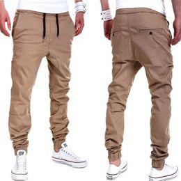 Wholesale Wholesale Mens Cotton Pants - Wholesale-Plus Size Khaki Joggers Mens Khaki Pants Jogger Pants Men's Cuffed Joggers Pants Cotton Long Trousers European New Black Jogger