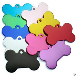 Wholesale Pet Id Tags Metal Wholesale - Multicolor 38MM Dogs Tag Bone Shape Design Pet ID Card Alloy Cat Dog Tags Pets Supplies Factory Direct 045wg