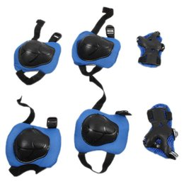 Wholesale Roller Skates Kids Adjustable - Wholesale- 6Pcs Kid Roller Skating Skateboard Bicycle Cycling Knee Elbow Wrist Protective Cover Adjustable Guard Pad Gear For baby Red&blue