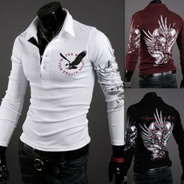 Wholesale Autumn Tattoos - Men Tops New Autumn Fashion Long Sleeve European Style Tattoo Eagle Printed Shirt Silm Fit Shirt 3 Colors