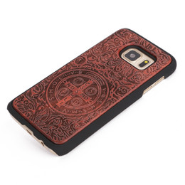 Wholesale Rubberized Phone Covers - U&I ® High Quality Rubberized Hard PC Back Cover Case Wood Cell Phone Case for Samsung S7 S7 edge