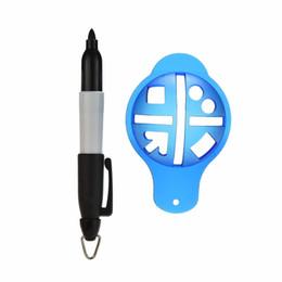 marcadores de bola Desconto Atacado-1Set Golf Baller Liner Marker Template Desenho Alinhamento Tool + Pen Formação Golf Accessories Practice Set Atacado