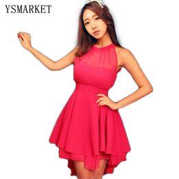 c2854f643b91 Vestito elegante dalle donne eleganti asimmetriche da donna vestito rosso  chiffon senza maniche da vista sconti abito asimmetrico rosso