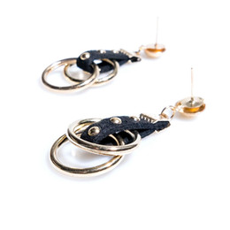 Wholesale Leather Studs Rivets Wholesale - Creative Handcraft Leather Rivet Earring Trendy Gold Color Stud Earrings Fashion Lady Accessories Jewelry Drop Shiiping