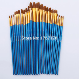 Wholesale brush paint art - 24Pcs  Set Nylon Hair Blue Wooden Handle Paint Brush Art Supplies