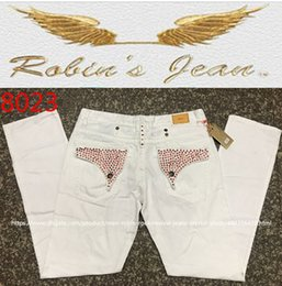 Wholesale Jeans Black Wings - 2017 New Men's Robin Jeans white Denim Pants with Crystal Studs Flap Pockets Gold Wings Clip Washed Designer Cowboy men Jeans