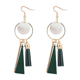 Wholesale Wholesale Wood Studs - Vintage Tassel Triangle Drop Earrings Black Red Green Charm Shell Wood Long Dangle Ear Cool Earrings For Women Fashion Jewelry Gifts