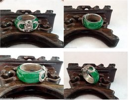 Wholesale China Green Jade Dragon - Tibet Silver Dragon Inlay Green Jade Jewelry Ring