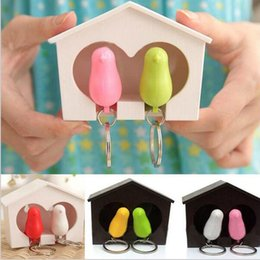 Wholesale Blue Bird House - Fashion Whistle Bird House Couple Lover keychains, Wall Mount Hook Key Holder Plastic Key chain keychain for the keys