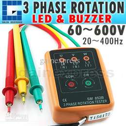 Wholesale Rotation Indicator - SM-852B Handheld Digital 3 Phase 60V~600V AC Sequence Order Rotation Indicator Tester Check 20~400Hz Freq Double Insulation
