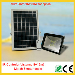 Wholesale 12v Ir Floodlights - IR control Solar 10W 20W 30W 50W wall mounted led floodlights wall lamps outdoor led spotlights Li-Battery waterproof with IR remote control
