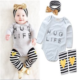 Wholesale Love Matching Clothes - Baby boutique 3pcs clothing set infant girls Letter loving heart print Romper with matching Headband and Legwarmer outfit