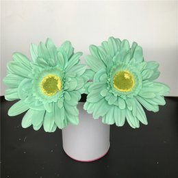 Wholesale Mint Green Decorations - Mint Green Artificial Silk Daisy Flower Heads 11cm Real Touch Daisy Silk Flowers Chrysanthemum Sunflowers Flowers Wedding Patry Decoration
