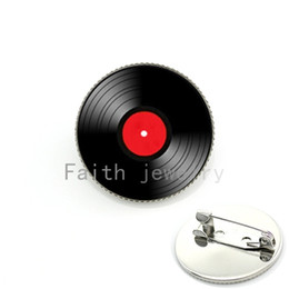 Wholesale Vinyl Records Lp - Wholesale- Vinyl Record LP DJ for Men. Retro Mus Art Pture lass Cabochon dome Brooch Pins for Him or her Fashion Jewelry ift