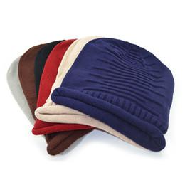 Wholesale Wholesale Wool Fiber Yarn - New arrive women men Warm knitted Beanie Skull Caps fashion knitting wool Crochet stripe edge roll hats Lover cap High-quality 2017 hot sale