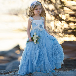 Wholesale Gathers Dress - Vintage Light Blue Flower Girls Dress with Gathered Twirl Design Square Neck Lace Pageant Dress For Girls 2017 Lovely Baby Birthday Dresses