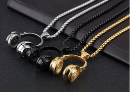 Wholesale Dj Plates - Epackfree 1pcs Hip Hop DJ Wireless Headphone Mens 316L Stainless Steel Pendant Necklace with vevet bag