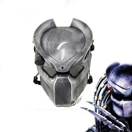 Wholesale Alien Vs Predator Mask - Alien Vs Predator Lonely Wolf Mask With Lamp Outdoor Wargame Tactical Masks Full Face Cs Mask Halloween Party Cosplay Horror Mask