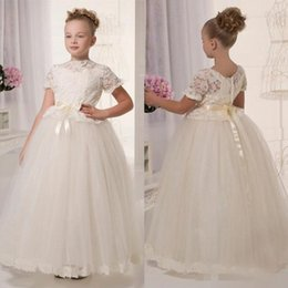Wholesale Adorable Blue Prom Dresses - Adorable Ivory Flower Girls' Dress With Belt Lace Short Sleeves Toddler Prom Pageant Dresses Floor Length Tulle Graduation Gown Children
