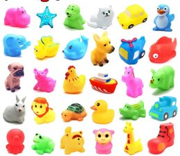Wholesale Duck Float - Baby Bath Toys Water Floating Dolls Animal Cartoon Yellow Ducks Starfish Children Swiming Beach Rubber Toy Kids Gifts fast shipping