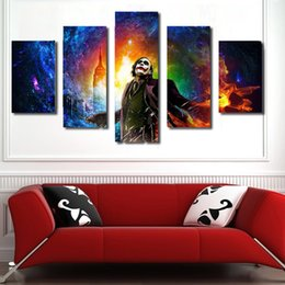 Wholesale Large Canvas Art Sets - Large Size Single Wall Art 5pcs set Unframed painting Wall Art Abstract Clown with Color background Spray painting interior decor