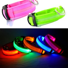 Wholesale Dog Led Battery - LED Pet Dog Collar LED Light Night Safety High Quality Flashing Dog Collar with Extra Batteries Light-up Flash Glowing in Dark Cat Collars