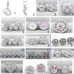 Wholesale pandora pink heart charms - 2017 NEWEST 20 KINDS 30 pcs lot Authentic 925 Sterling Silver HOT SALES charms beads Fits European Pandora Charm Bracelets