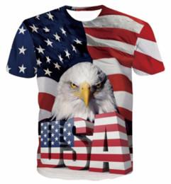 Wholesale America Eagle Men - New Arrival Women Men Cool USA Eagle Short Sleeves 3D Print America Flag T-shirt Summer Casual T-shirt S--5XL AA195