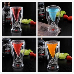 Wholesale Glass Tale - Creative fairy tale Crystal Mermaid Shot Glass Vodka Wine Glasses Double Layers Beer Cup with factory price Free Shipping