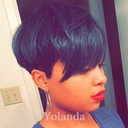 Wholesale New Glueless Full Lace Wig - New Arrival 4-6inch Cheap Straight Short Human Hair wigs Pixie Cut Brazilian Hair Glueless Full Lace Human Hair Wigs for Black Women