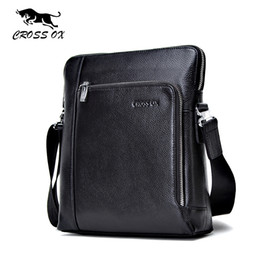 Wholesale Leather Handbag For Tablet - Wholesale-CROSS OX Men's Messenger Bag Summer New Arrival Genuine Leather Shoulder Bag Handbags For Men Portfolio Tablet Bag SL372M