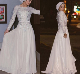 Wholesale Evening Dress Long Muslim - Long Sleeves Muslim Evening Dresses Silver Sequins Crystal Beaded Chiffon Floor Length Shinning Arabic Abaya White Prom Dresses With Sash