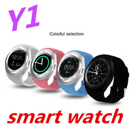Wholesale Russian Watch For Men - wholesale Fashion SmartWatch Y1 Round Support Nano SIM &TF Card With Whatsapp And Facebook Men Women Smart watch For IOS Android