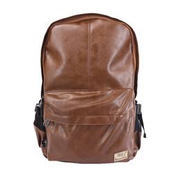Wholesale Rucksack Laptop Bags - Wholesale- Brand Men Women PU Leather Vintage Backpack Fashion Leisure Teenagers Male School Day Rucksack Shoulder Laptop Bags 3527