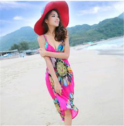 Wholesale Dress Chiffon Crochet - 2017 Bohemia Style Women Dress Gallus Pullover Beach Holiday Dress Beach Cover Up Female Sexy Swimwear Summer Crochet Bikini Cover
