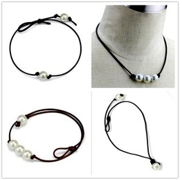 Wholesale Leather Rope Necklaces - Women Fashion Chokers Pearl Necklace Jewelry Handmade Leather Rope Pearl Pendant Necklace Imitation Natural Freshwater Pearl Necklace