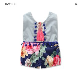 Wholesale One Year Boy - Summer Baby Boy Girl Floral Print Romper Clothes Fashion Toddler Infant Sleeveless Knitted Jumpsuit Newborn One Piece Clothing 0-2 Year
