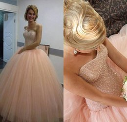 Wholesale Strapless Ball Gown Patterns - 2017 New Blush Pink Sweetheart Tulle Quinceanera Dresses Crystals Beading Lace Up Back Ball Gowns Sweet 16 Girls Party Wear