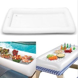 Wholesale Buffet Wholesale - Inflatable Salad Serving Bar Cooler Buffet Salad Food Drink Tray Ice Cooler Picnic Drink Table For Party Picnic Storage Trays CCA6731 50pcs