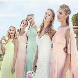 Wholesale Wholesale Lace Bridesmaid Dresses - Evening Dresses Blush Pink Long Chiffon Bridesmaid Formal Ball Gown Party Cocktail Evening Prom Dresses Country Style One Shoulder Dresses