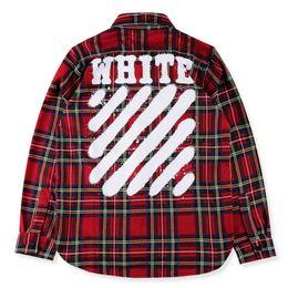 Wholesale Men Red Plaid Shirts - OFF WHITE 13 Hip Hop Street Plaid Shirts Men Casual Shirt Flannel Cotton Thick Autumn Fall Shirts Youth Long Shirts