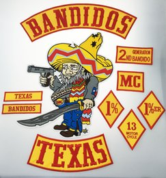 Wholesale Hot Sale Set BANDIDOS TEXAS MC Patch Embroidered Iron On Full Back Size Jacket Vest Motorcycle Biker Patch Patch