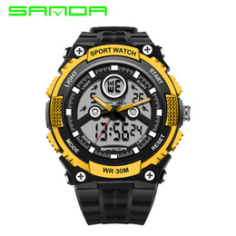 Wholesale waterproof watches cheap - SANDA 2016 Hot Sale Men's Fashion Electronics Sports Watches Outdoor LED Analog-Digital Wristwatch Cheap Sports Waterproof Men Watch-quartz