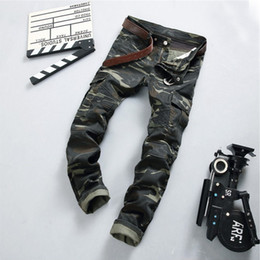 Wholesale Punk Tights - Wholesale- 2017 new men's fashion camouflage pants stitching men's jeans small feet pants tight motorcycle punk Army Green Zipper jeans