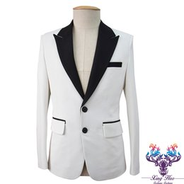 Wholesale Clothes For Nightclub - 2017 Male Korean white slim fashion outerwear singer dancer host show for party DJ jazz nightclub stage groom clothes performance prom