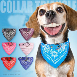 Wholesale Towel Pets - Cute Small Dog Collars Puppy Pet Slobber Towel Dogs Cats Print Scarf Adjustable Designer Dog Collar Black Pink Red Blue Purple