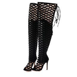 Wholesale back out wedding dresses - Sexy Womens Over Knee Gladiator Sandals Black Cut-outs High Heel Thigh Long Boots Zip Back 11cm Size 35 to 40