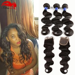 Wholesale Dyeable Brazilian Hair - Hannah product BrazilianHair Bundles With Closure 8-30inch Double Weft Human Hair Extensions Dyeable Hair Weave Body Wave